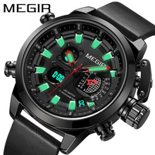 TOP Luxury Brand Sport Watches Men Leather Waterproof Shockproof  Army Military Digital Quartz Analog Wrist Watch Man Clock