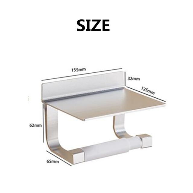 Porte-papier toilette en aluminium   Crochets de rangement multifonctions, étagères de salle de bains avec cendrier, support détagère pour serviette pour téléphone