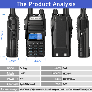 Image 4 - 2pcs baofeng UV 82 5w portátil uv82 walkie talkie banda dupla 2 ptt vhf uhf uv 82 ham rádio amador transceptor 82