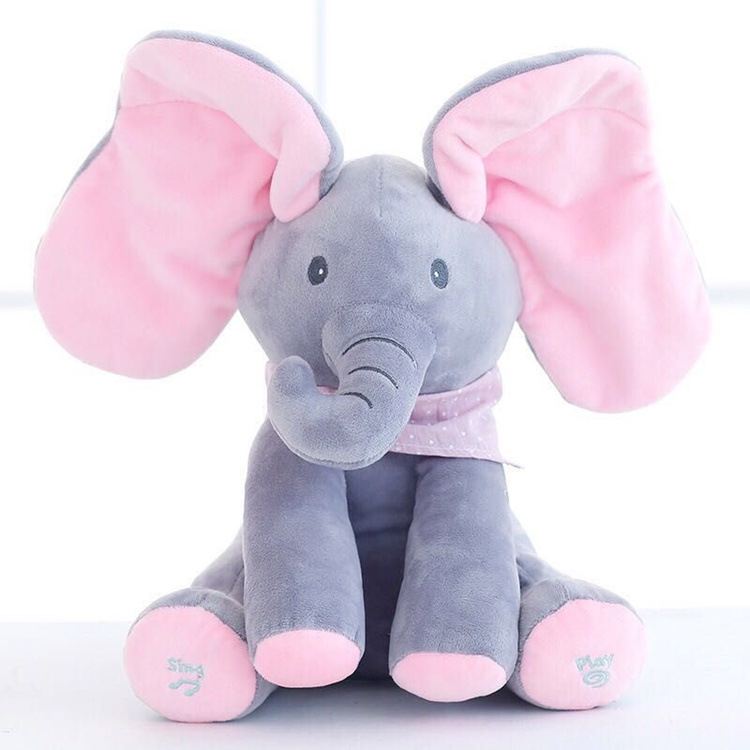 Peek Boo Elephant Stuffed Animals Plush Elephant Doll Play Music Bear Educational Interactive Toy For Children Elephant Bear Toy