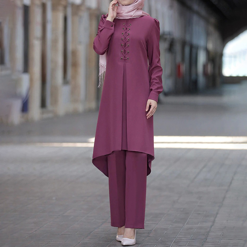 2 Piece Set Muslim Women Asymmetry Abaya Dress Sets Long Blouse Wide Leg Pants Kaftan Ramadan Eid Turkey Suits Islamic Clothes