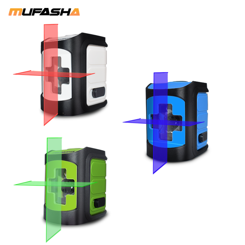 MUFASHA Mini 2 Lines Laser Level Red Beam Or Green Beam Self-Leveling Laser Level In Box