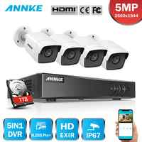 ANNKE 8CH 5MP Ultra HD CCTV Camera System 5IN1 H.265+ 4K DVR With 4PCS 5MP TVI Weatherproof White Security Surveillance System