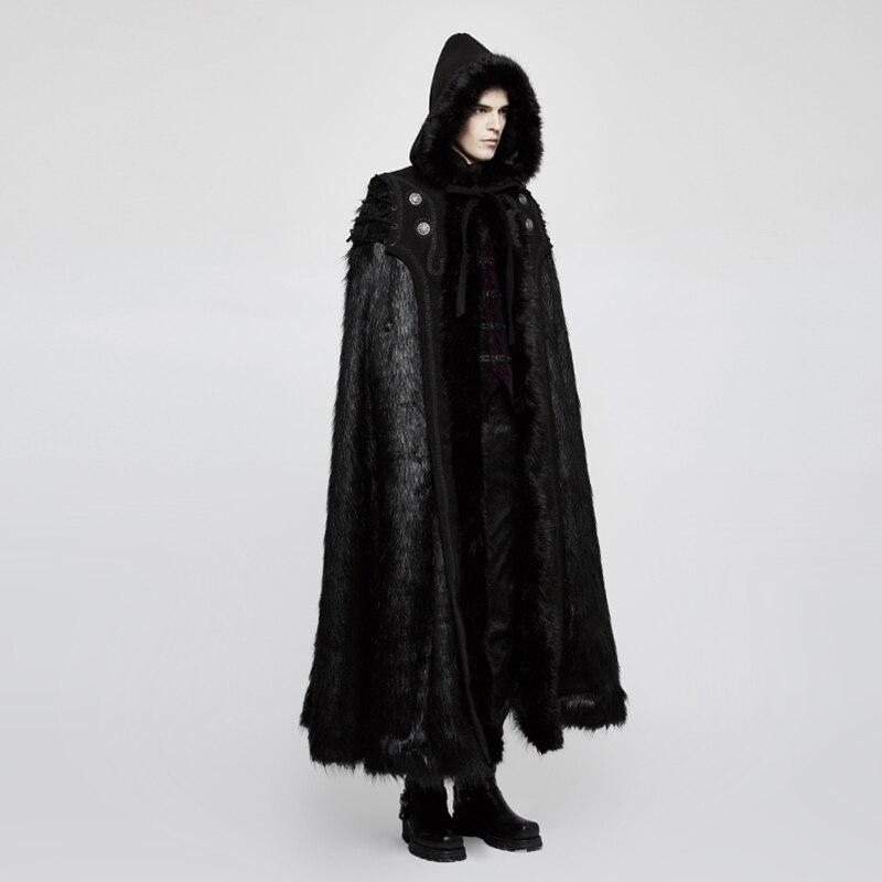 PUNK RAVE Men Gothic Black Hooded Long Coat Halloween Ampire Black Knight Luxury Men Cloak With Fur Cloak Hood Cloak Cape