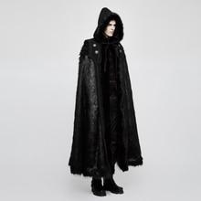 PUNK RAVE Men Gothic Black Hooded Long Coat Halloween Ampire Knight Luxury Cloak with Fur Hood Cape