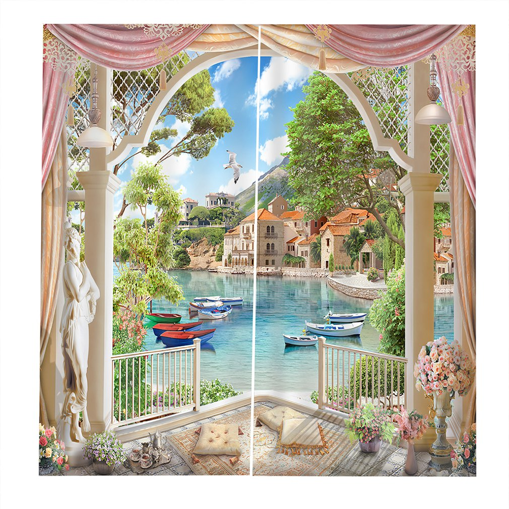 Lakeside Curtain Window Curtain UV-proof Bedroom Curtains Washable Decorative Perfect Screening Home Room Decorations