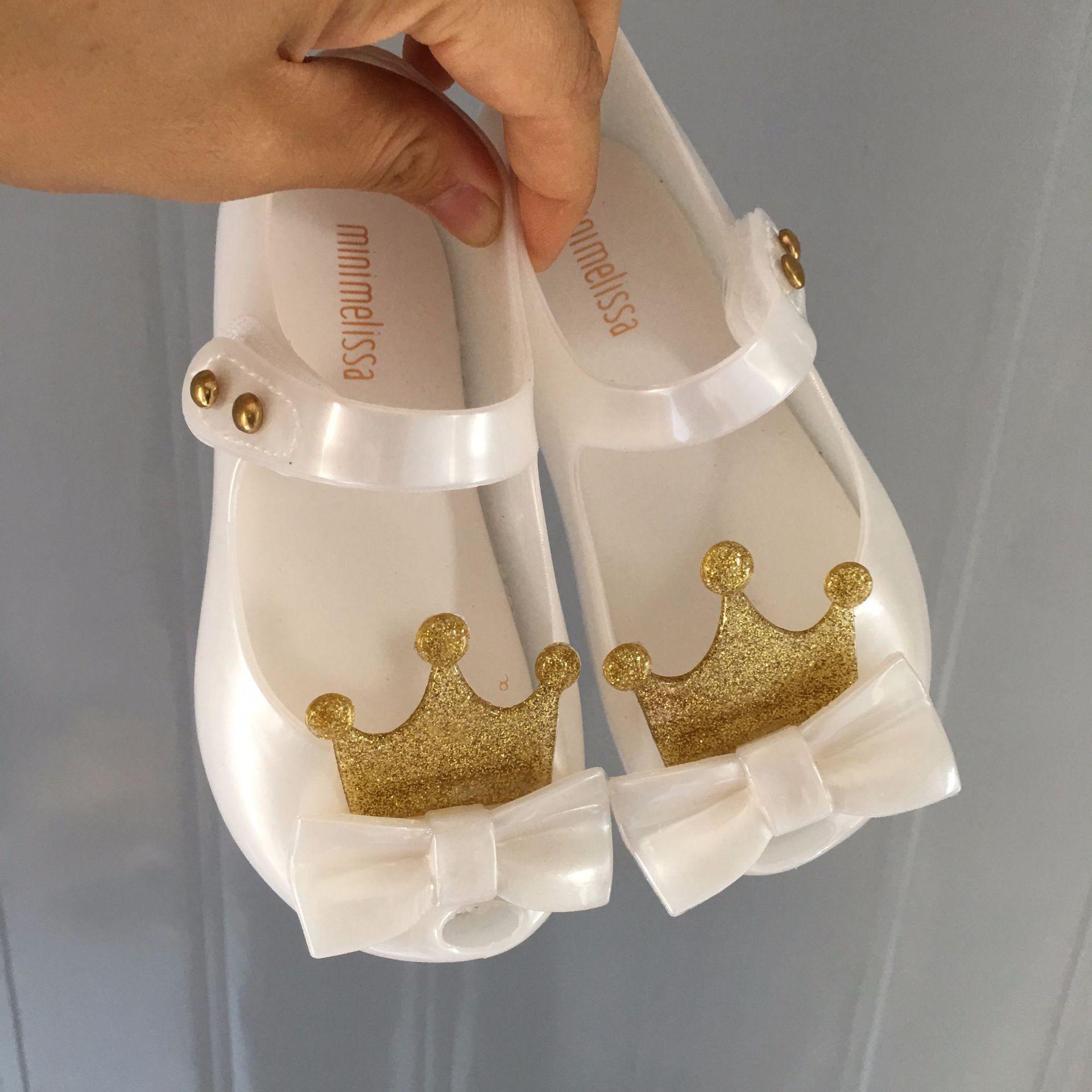 Mini Melissa Ultragirl 2019 Original Girl Jelly Sandals Crown Kids Sandals Children Beach Shoes Non-slip Melissa Toddler SH19077
