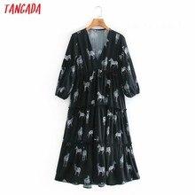 Tangada moda feminina estampa animal camisa vestido 2020 nova chegada senhoras v pescoço midi vestidos xn32