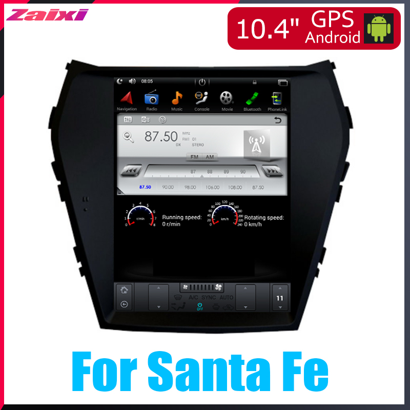 For Hyundai ix45 Santa Fe 2012 2013 2014 20152016 Big screen Tesla Screen Vertical Screen Android Car PC GPS Navi Radio Player image