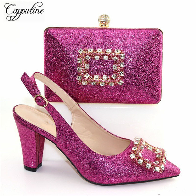 Graceful Fuchsia Spring/Autumn Shoes And Purse Bag Set Pretty High Heel Shoes With Handbag CR179, Heel Height 9.3CM