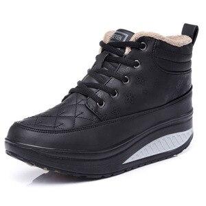 Image 2 - كاوكوم الربيع عالية متابعة أحذية قطنية جلدية الروك أحذية نسائية سميكة سوليد الترفيه تنفس احذية الجري CYL