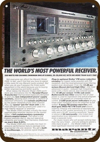 Novelty Sign1977 Marantz 2500 Stereo Receiver Vintage Look Replica Metal Sign Most Powerful|Plaques & Signs| - AliExpress