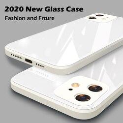 Dtleaf quadrado vidro temperado caso para iphone 11 12 pro max caso anti-knock pele do bebê fram capa para iphone x xs max xr 7 8 plus