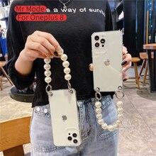 Für Oneplus 8 8T Für One Plus 7 7t Pro Mode Große Perle Armband Anti herbst Schutzhülle abdeckung Phone Cases Transparent Soft Shell