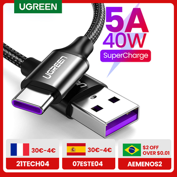 Ugreen 5A USB Type C Cable for Huawei P40 Pro Mate 30 P30 Pro Supercharge 40W Fast Charging USB-C Charger Cable for Phone Cord 1