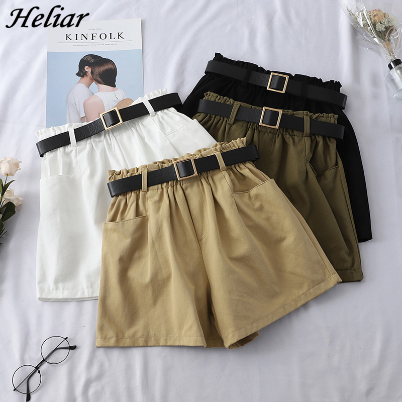 HELIAR 2019 Spring Women High Waist Shorts Casual Western Style Straight Outwear Suit Shorts Hot Summer Casual Jean Shorts