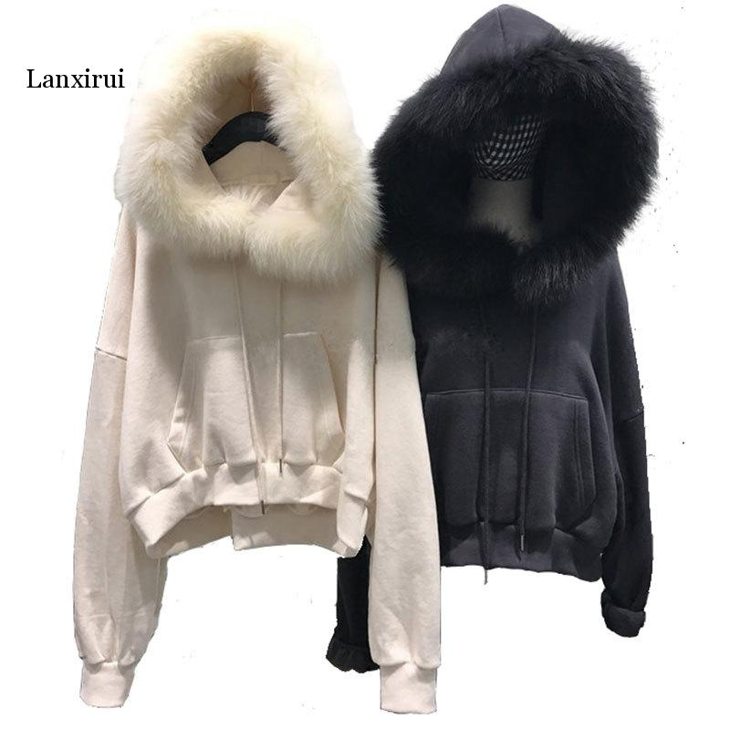 New Faux Fur Coat With Hood High Waist Fashion Slim Black Red Faux Fur Jacket Fake Rabbit Fur
