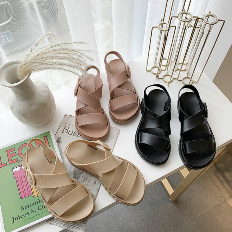 2020 New Summer Flat Sandals Women Shoes Gladiator Open Toe Buckle Soft Jelly Sandals Female Women's Flat Platform Beach Shoes Women's Sandals  - AliExpress