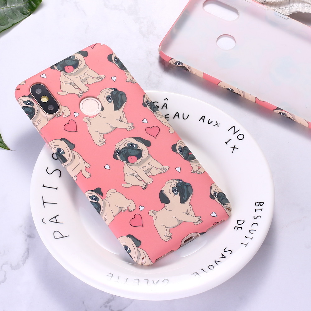 For <font><b>Xiaomi</b></font> <font><b>Mi</b></font> Redmi A2 A3 Note 5 6 7 8 9 lite Pro Funny French Bulldog Puppy Cartoon Emboss Hard PC Phone Case Cover <font><b>Funda</b></font> Coque image