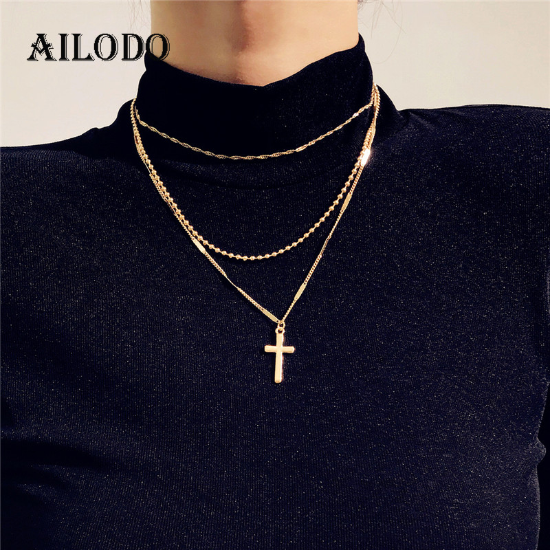 Ailodo Fashion Cross Pendant Necklace For Women Multi Layer Gold Silver Color Chokers Necklace On Neck Collar Bijoux Gift LD213