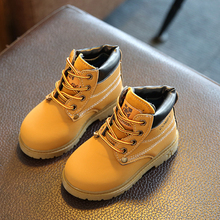 New Korean version of the small yellow shoes warm boys and girls Martin boots autumn winter childrens casual