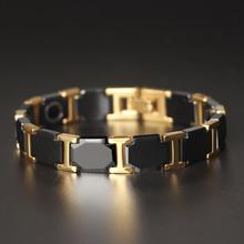 цена на Gold Color Polished Stainless Steel Women Bracelets For Men Luxury Ceramic Health Care Energy Magnetic Man Bracelet Male Female