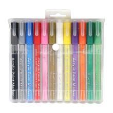 12/28 renk ince ucu yıkanabilir akrilik boya belirteçleri seramik cam çocuklar zanaat R66C