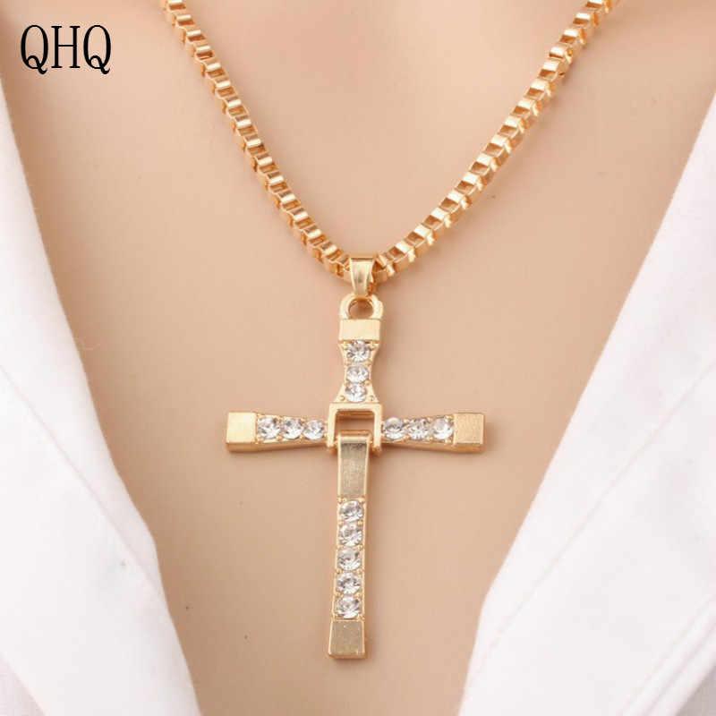 QHQ จี้สร้อยคอ chain choker ที่ดีที่สุดเพื่อน cross สร้อยคอคริสตัลหินเพิร์ลชายผู้หญิงอุปกรณ์เสริมของขวัญ