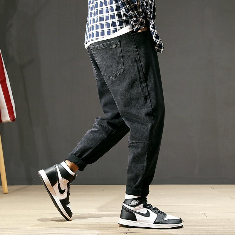 Japanese Style Fashion Men Jeans Black Color Vintage Loose Fit Harem Pants Big Size 28-42 Printed Designer Hip Hop Jeans Men