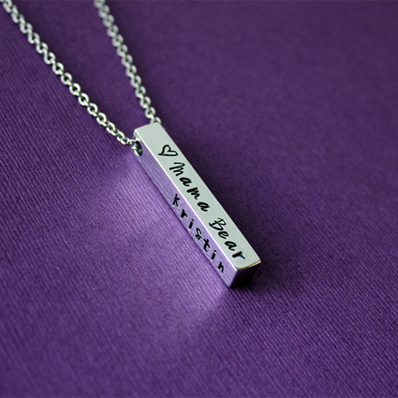 Four Sides Engraving Personalized Square Bar Custom Name Necklace Stainless Steel Pendant Necklace Women/Men Gift