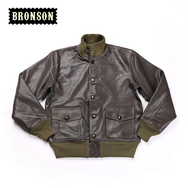 A1 Read Description ! Asian Size Bronson US Air Force A1 Genuine Goat Skin Vintage Leather Jacket