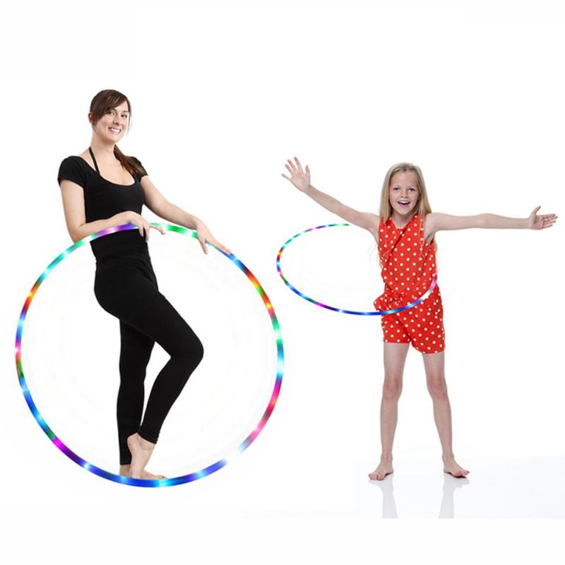 Adult Kids LED Glow Sport Hoop Multi-color Hoop Loose Weight Bodybuilding Fitness Abdominal Fat Loss Light Fitness Hoops Toy New