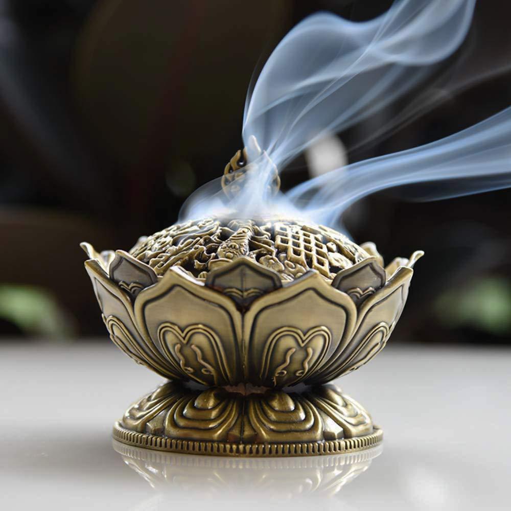 ERMAKOVA Chinese Alloy Buddha Incense Burner Lotus Flower Incense Holder Censer for Buddhist Home Office Decoration Gift