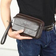 男性の男性のクラッチバッグ本革ハンドバッグ男性ロングマネー財布携帯電話ポーチ男パーティークラッチコイン財布