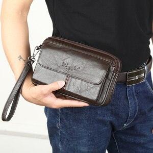 Image 1 - Мужские Клатчи из натуральной кожи, мужские длинные бумажники для денег, мобильный телефон, вечерние клатчи, кошелек для монет