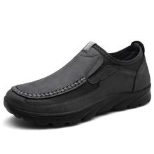 High Quality Men Shoes Breathable Mens Loafers Leather Non-slip Man  Soft Bottom Handmade Plus Size 39-48