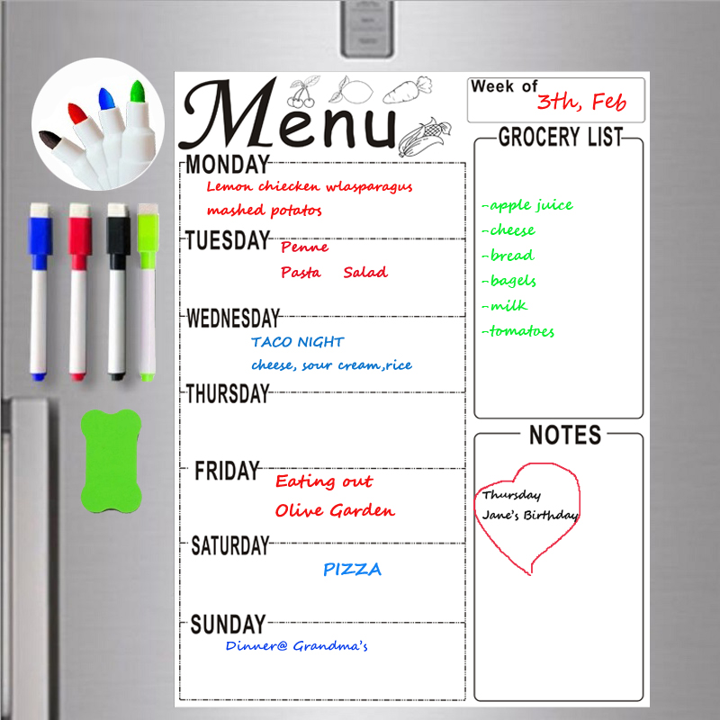 A4 Magnetic Whiteboard Weekly Planner Menu Meal Grocery To Do List Fridge Sticker Marker Pen Schedule Erase Board Technology