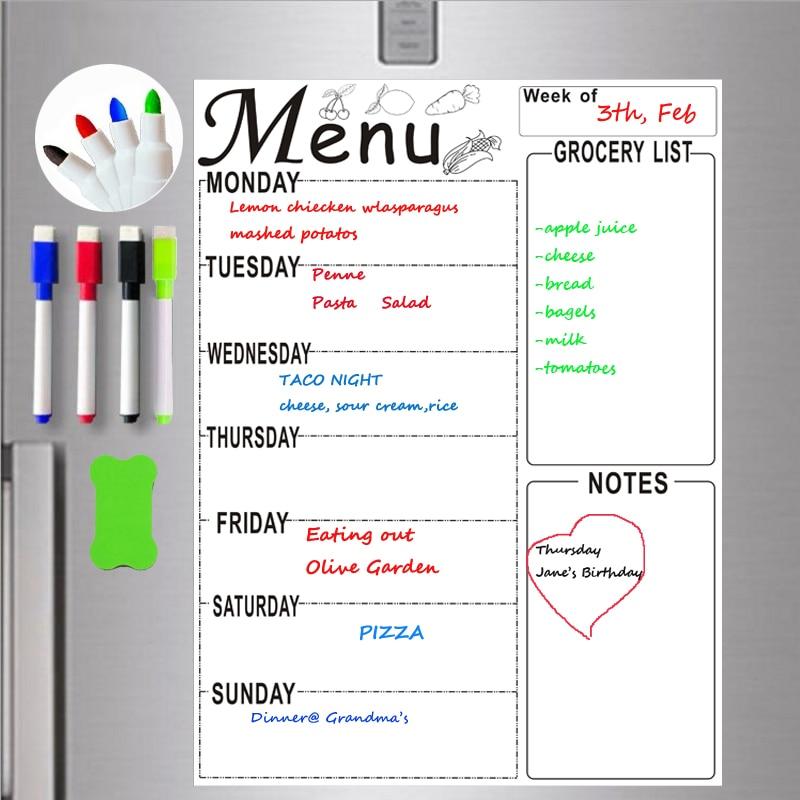 A4 Magnetic Whiteboard Weekly Planner Menu Meal Grocery To Do List Fridge Sticker Marker Pen Schedule Erase Board Technology