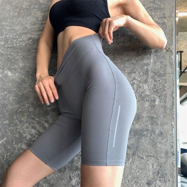 Γυναικείο αθλητικό ψηλόμεσο σορτς εφαρμοστό για γυμναστήριο και γιόγκα
