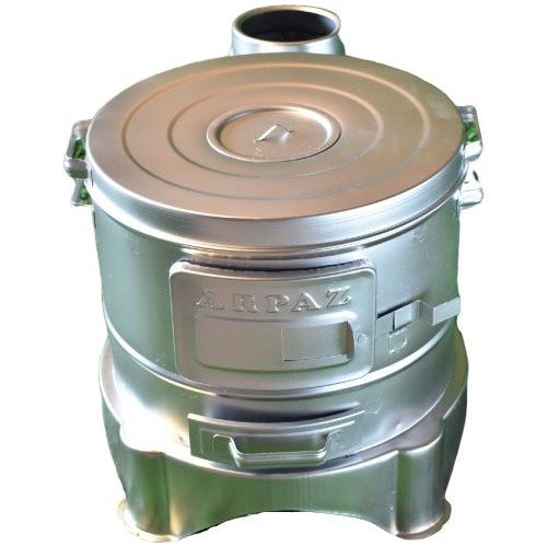 Camping Stove And Barbecue Grill Wood Charcoal Tent Nature Small Heater Cabin Outdoor Stove Heater Silver Color