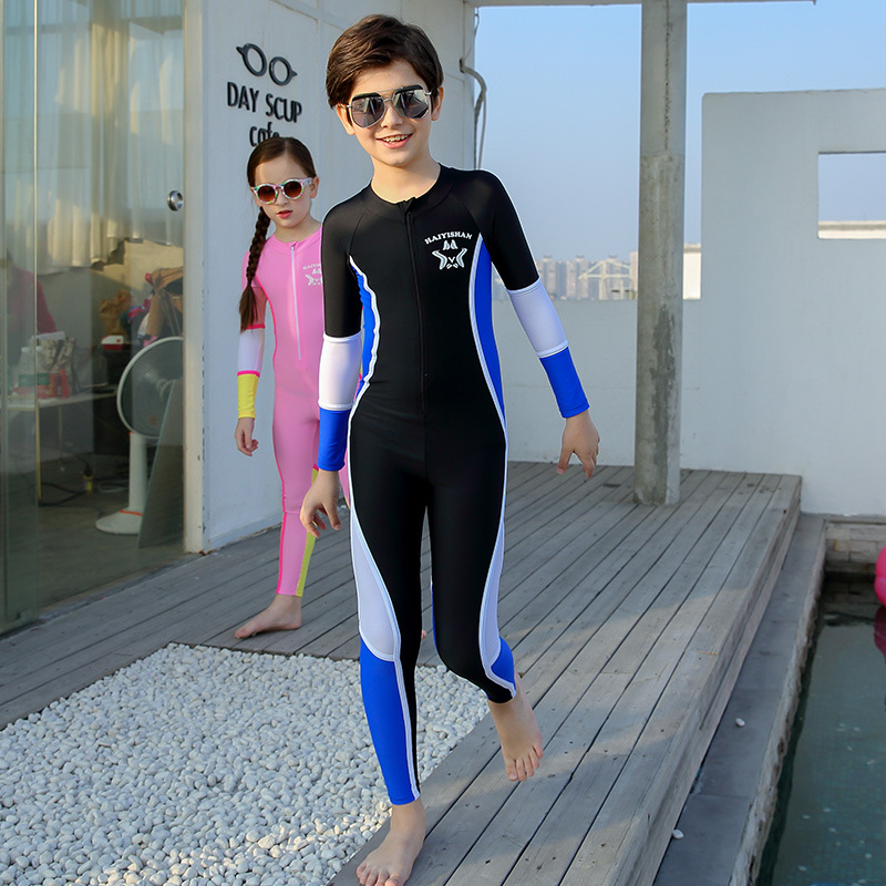 KID'S Swimwear Middle And Large BOY'S Girls One-piece Long Sleeve Trousers Warm Sun-resistant Waterproof Mother Diving Surfing T