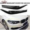 2 шт./компл. 2017 2018 G30 G38 налобный фонарь крышка автомобиля Стайлинг углеродное волокно передняя крышка лампы наклейка подходит для 5 серий G30 G38...