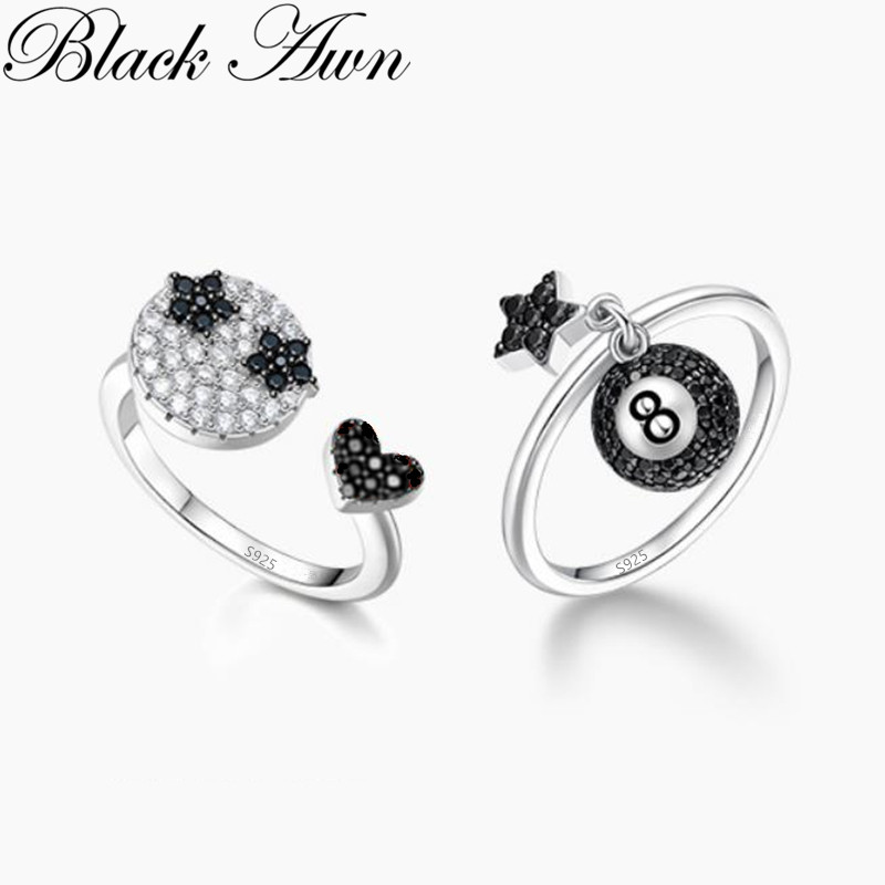 BLACK AWN Genuine 925 Sterling Silver Jewelry Black '8' Rings For Women Female Star Bague G100