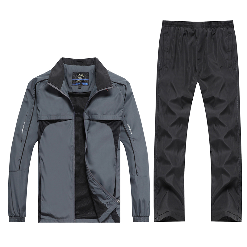 Tracksuit Men Two Pieces Sets Jacket + Pants Casual Track Suit Spring Autumn Sportswear New Male Jogging Clothing Plus Size 5XL