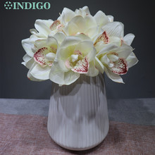 10 pcs/Lot White New PU Latex Orchid Bride Banquet Flower Real Touch Fake Wedding Party Free Shipping