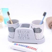 Держатель для зубных щеток в скандинавском стиле, парные держатели зубной пасты, пластиковые парные двойные стаканчики для хранения воды, аксессуары для ванной комнаты