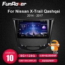 FUNROVER coche dvd gps reproductor multimedia para Nissan X-Trail Qashqai 2014-2017 radio Estéreo navegación android 10 DSP 128G 8 core