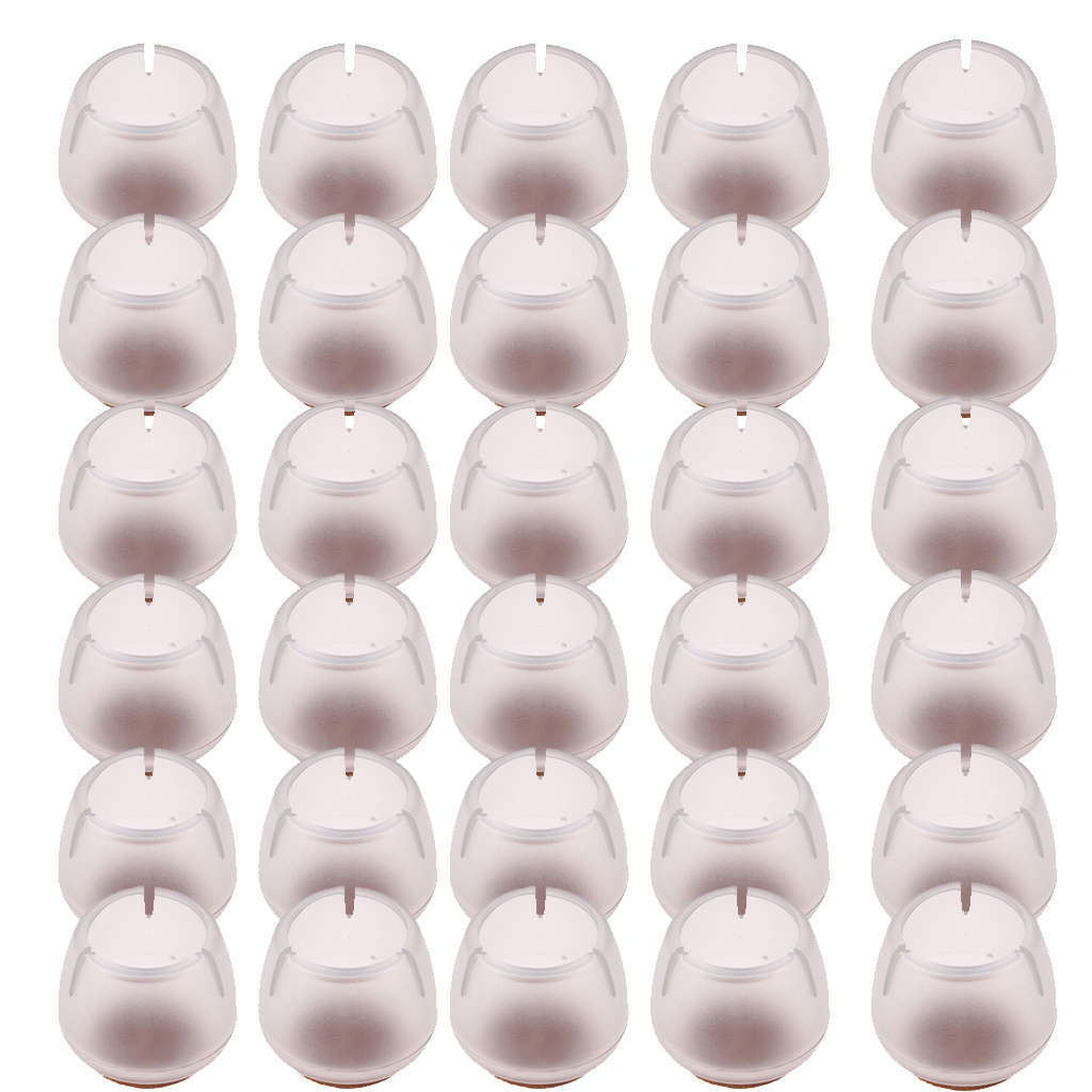 30 Pieces Chair Leg Caps Tips For Round 12-16mm Chair Leg Caps Furniture Feet Protectors Clear Silicone Floor Protectors