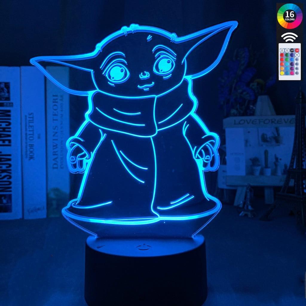 3d Led Night Light 16 Color Star Wars Mini Yoda Baby Meme Figure Nightlight Kids Child Bedroom Decor Table Lamp Baby Star Light