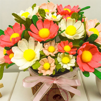 Tela fieltro simulación Ramos DIY flores artificiales hechas a mano para boda fiesta decoración suministros fieltro Material DIY paquete
